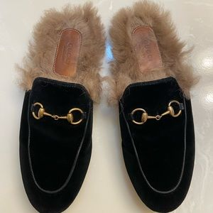Gucci Princetown Velvet Mules with Fur size 6.5
